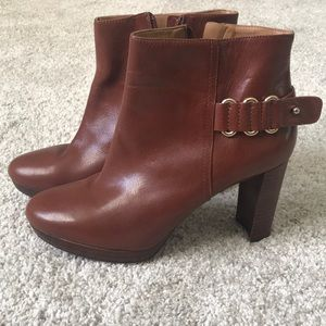 Brown leather with gold detail bootie